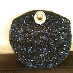 Hand crochet felted black and blue evening bag